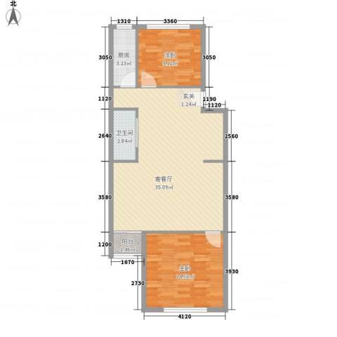 望京西园一区2室1厅1卫1厨92.00㎡户型图