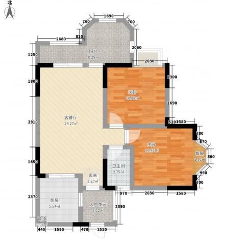 凯泰欧城2室1厅1卫1厨85.00㎡户型图