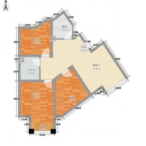 七里香堤3室1厅1卫1厨99.00㎡户型图