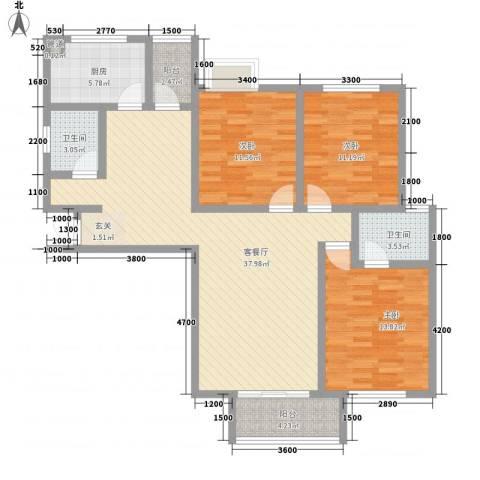 惠康小区3室1厅2卫1厨136.00㎡户型图