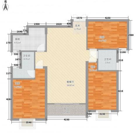 御润国际豪庭3室1厅2卫1厨129.00㎡户型图