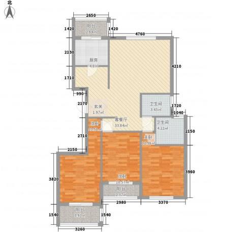 御润国际豪庭3室1厅2卫1厨131.00㎡户型图