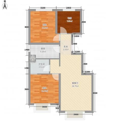 首创・伊林郡3室1厅1卫1厨94.00㎡户型图