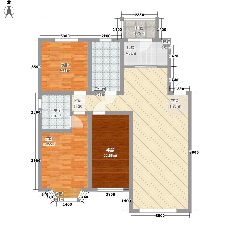 吴中北国之春3室1厅2卫1厨129.00㎡户型图