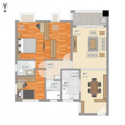 翠雍华庭3室2厅2卫1厨95.62㎡户型图