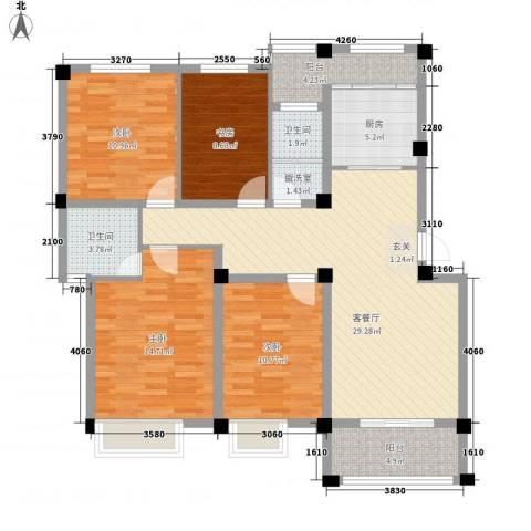 鑫桥康郡4室2厅2卫1厨138.00㎡户型图