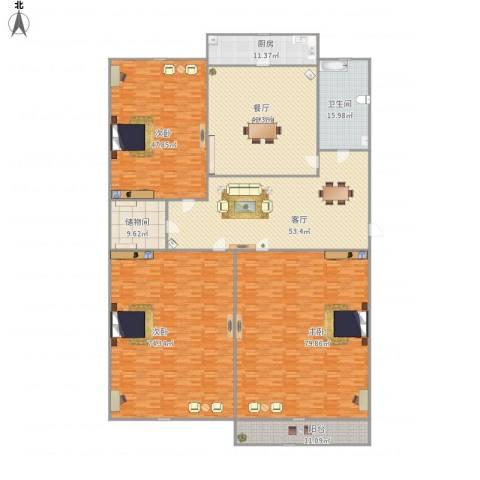 玉函路单位宿舍3室2厅1卫1厨449.00㎡户型图
