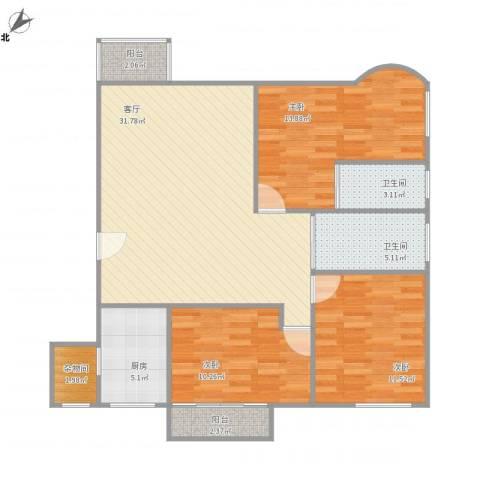 龙洲湾花园5-1-15023室1厅2卫1厨118.00㎡户型图