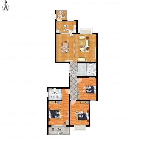 龙园小区3室1厅2卫1厨191.00㎡户型图