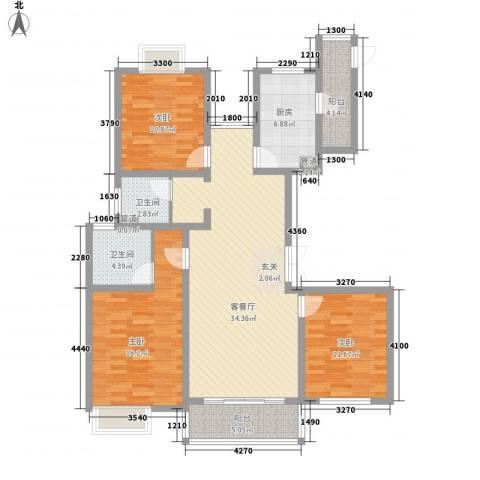 新时代广场3室1厅2卫1厨141.00㎡户型图