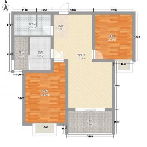 汇丰・中央公馆2室1厅1卫1厨91.00㎡户型图