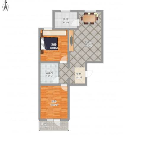 御�华府2室1厅1卫1厨96.00㎡户型图