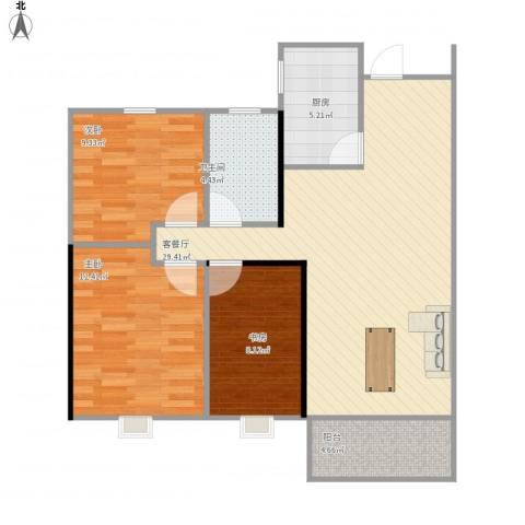 隆昊昊天园3室1厅1卫1厨99.00㎡户型图