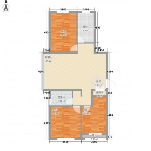 尚层3室1厅1卫1厨118.00㎡户型图