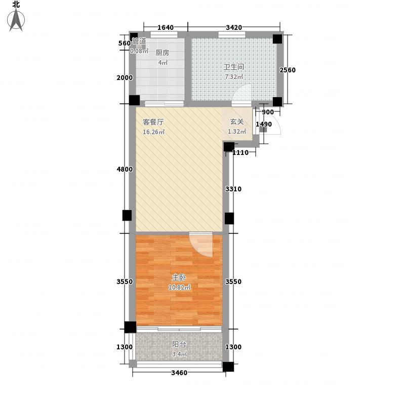 天立温泉61.00㎡户型1室1厅1卫1厨
