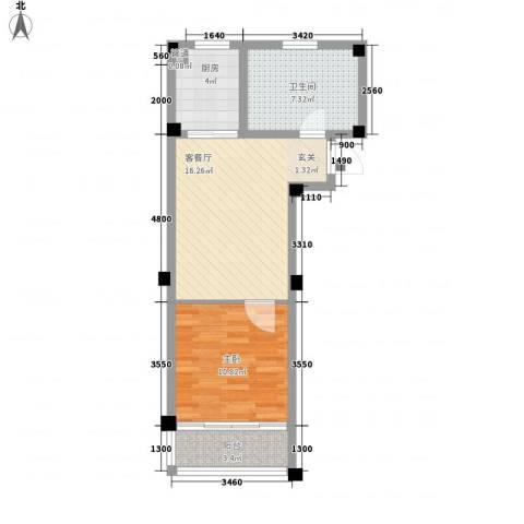 天立温泉1室1厅1卫1厨61.00㎡户型图