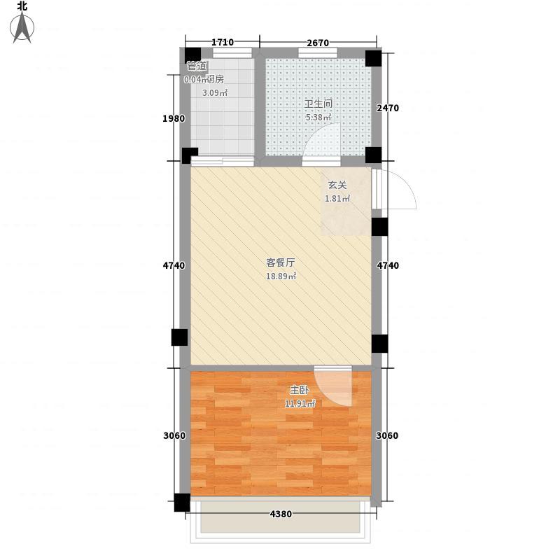 天立温泉56.00㎡户型1室1厅1卫1厨