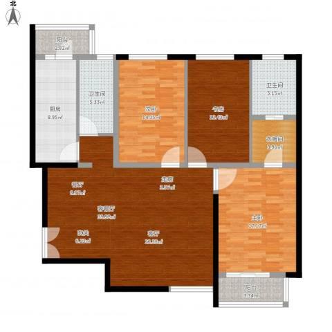 建邦华庭3室1厅2卫1厨161.00㎡户型图