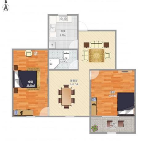 桃园新村2室1厅1卫1厨96.00㎡户型图