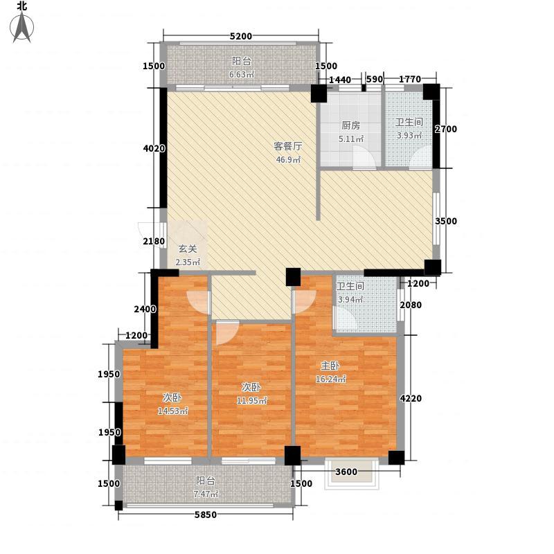 信逸雅园136.22㎡3幢标准层01+02户型3室2厅2卫