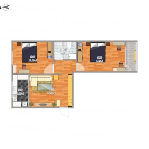 阳光小区2室1厅1卫1厨78.00㎡户型图
