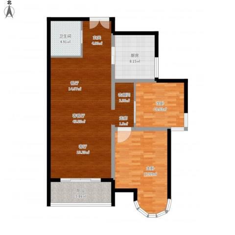 建邦华庭2室1厅1卫1厨125.00㎡户型图