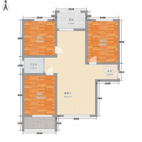 汇丰・中央公馆3室1厅1卫1厨120.00㎡户型图