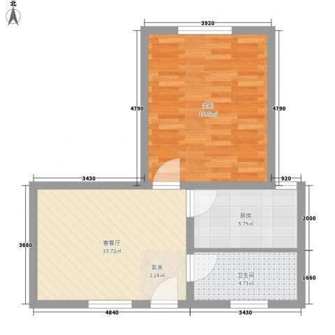 新领地1室1厅1卫1厨63.00㎡户型图