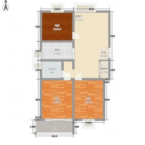 南方公寓3室1厅1卫1厨111.00㎡户型图