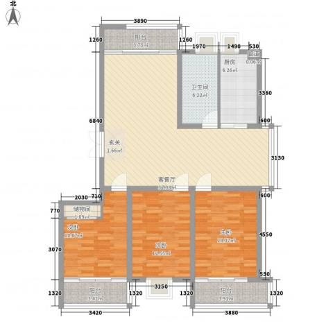 南方公寓3室1厅1卫1厨143.00㎡户型图