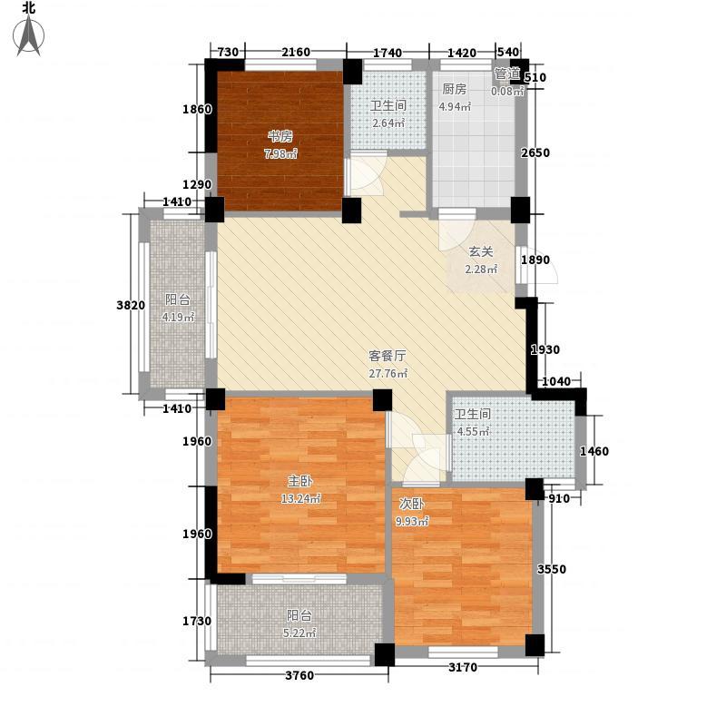 金亿文园115.00㎡住宅标准层E户型3室2厅2卫1厨