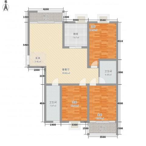 南方公寓3室1厅2卫1厨146.00㎡户型图