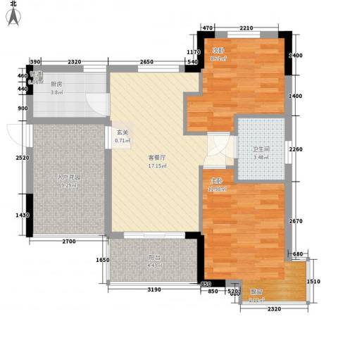 万宁东岸假日2室1厅1卫1厨67.00㎡户型图