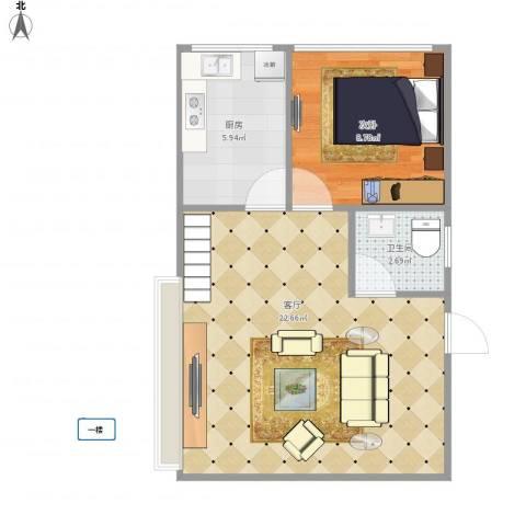 龙泉别墅7230961室1厅1卫1厨54.00㎡户型图