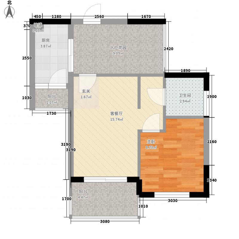 万宁东岸假日53.00㎡C户型1室2厅1卫1厨