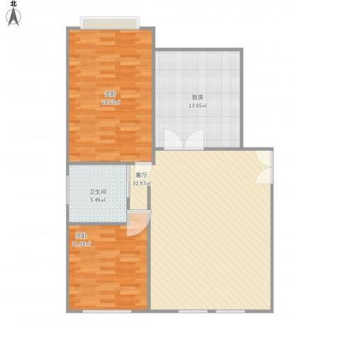 军营凤凰城2室1厅1卫1厨108.00㎡户型图