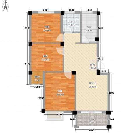 鑫桥康郡3室1厅1卫1厨105.00㎡户型图