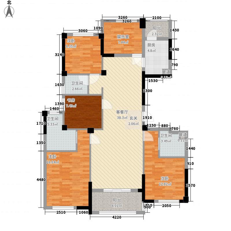 奉化中央花园163.00㎡E户型5室2厅3卫1厨