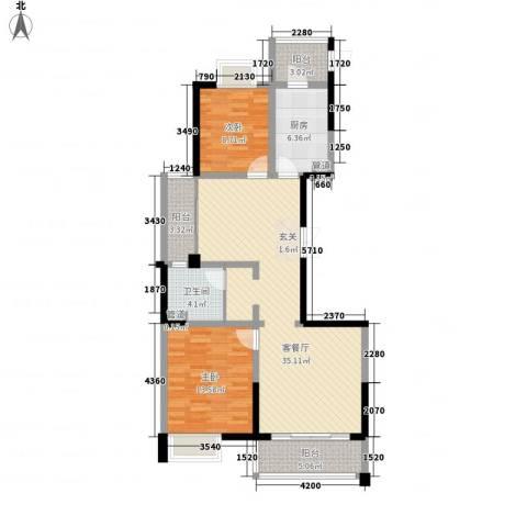 新时代广场2室1厅1卫1厨116.00㎡户型图