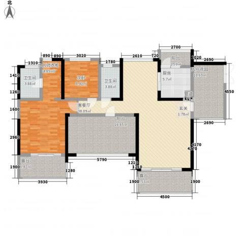 瑞海花园别墅2室1厅2卫1厨181.00㎡户型图