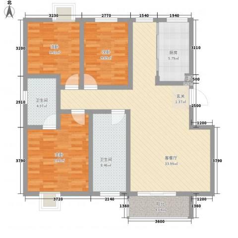 隆港・新地城3室1厅2卫1厨129.00㎡户型图