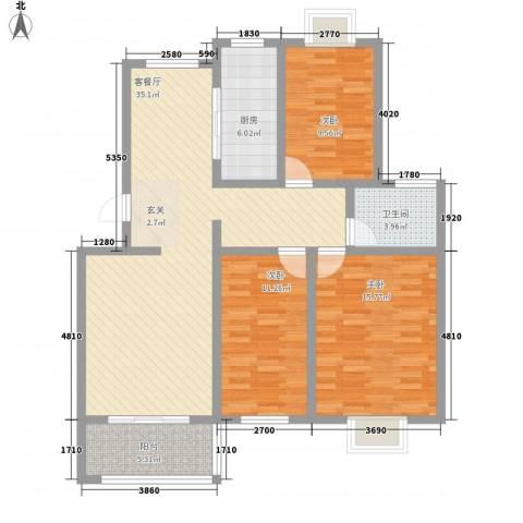 清华苑3室1厅1卫1厨114.00㎡户型图