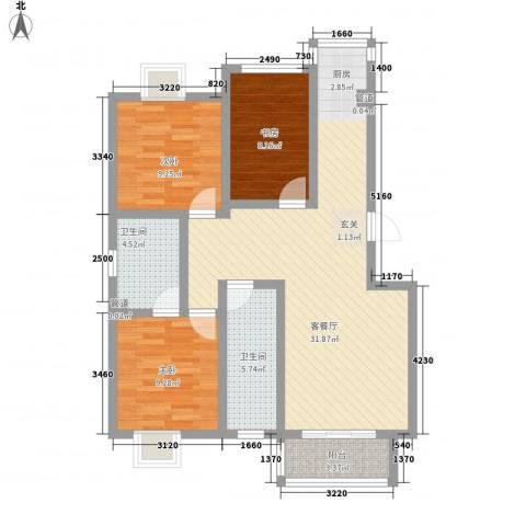 隆港・新地城3室1厅2卫0厨106.00㎡户型图