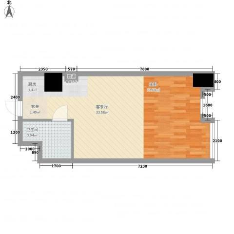 鑫汇国际1厅1卫0厨42.97㎡户型图