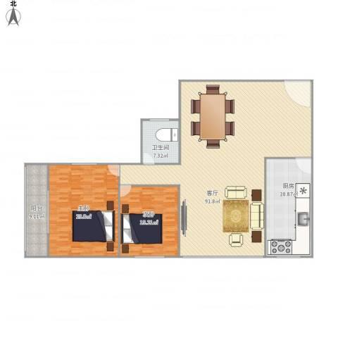 金色阳光花园2室1厅1卫1厨233.00㎡户型图