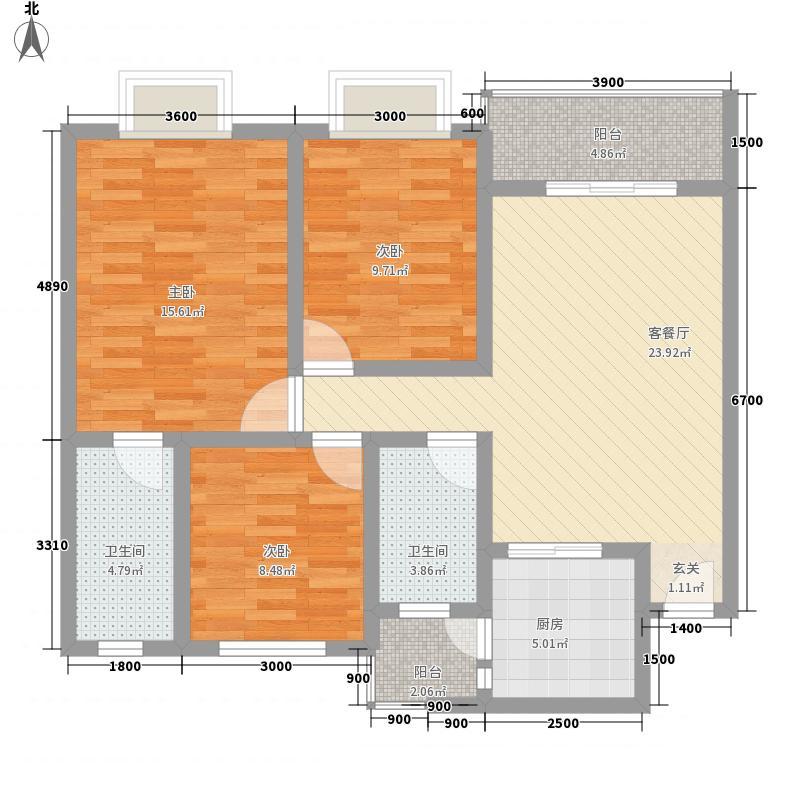 格瑞明城D-2 3室2厅2卫1厨 100.00㎡