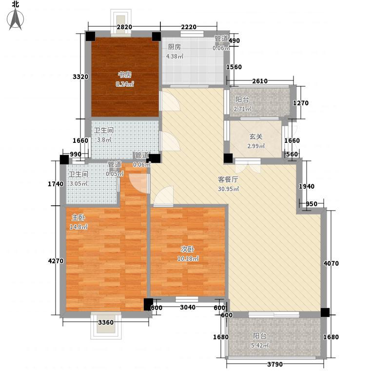 黄山豪庭123.00㎡B户型3室2厅2卫1厨