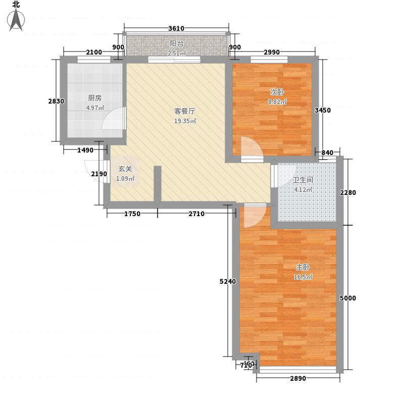 龙泽山庄75.40㎡晶典风尚户型2室2厅1卫1厨