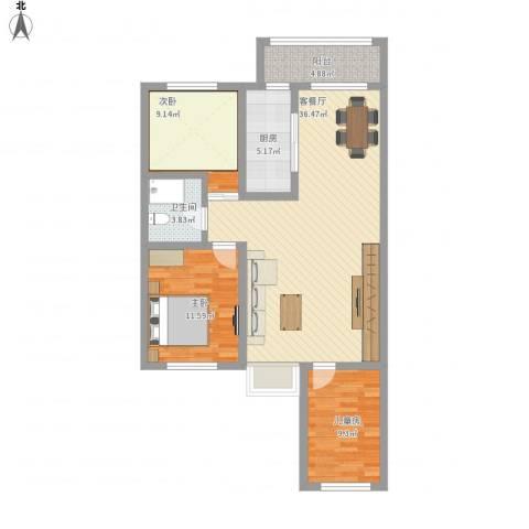 柳景家园3室1厅1卫1厨116.00㎡户型图
