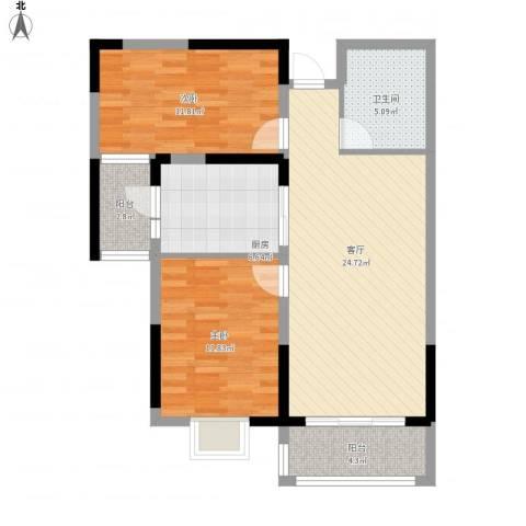 恒大城2室1厅1卫1厨96.00㎡户型图